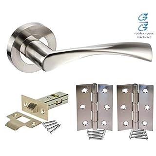 4 Sets of Astrid Twist Design Modern Chrome Door Handles on Rose with Duo Finish Door Lever Latch Pack - Golden Grace
