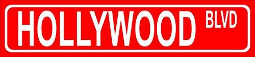 Schild - Hollywood Blvd - American Street Sign Amerikanisches Straßenschild - 52x11cm - Bohrlöcher Aufkleber Hartschaum Aluverbund -S00346-001-C