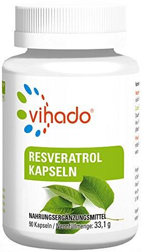 Trans-resveratrol (Vihado Resveratrol Kapseln hochdosiert, 150mg echtes Trans-Resveratrol pro Kapsel, vegan ohne Magnesiumstearat, 3-Monatspaket, 90 Kapseln)