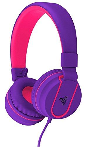 NRGized Kopfhörer mit Mikrofon für Reisen, Arbeiten, Kinder, Jugendliche, Laufen, Sport mit Inline-Controller Lila und Pink