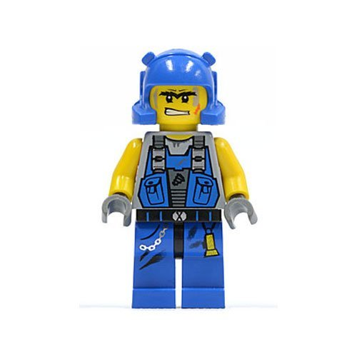 LEGO POWER MINERS - MINIFIGUR MIT BLAUEM HELM Aus Set 8709 + 8958 (Lego Power Miner Sets)