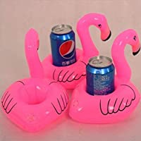 3PCS Cute Tropical Flamingo Floating Coaster for Party Drink Seat Inflatable Toys Pink Durable and Practical