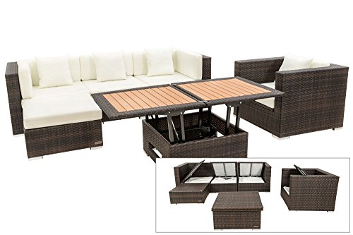 OUTFLEXX Lounge Sofaset inkl. Sessel + Hocker + höhenverstellbarer Loungetisch aus Polyrattan in...