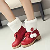 Stiefel Für Damen, Herbst Und Winter Mit Flachem Boden, Große Wadenstiefel, Warme Anti-Skischuhe Für Damen,rot,39