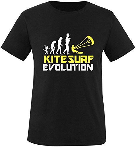 EZYshirt® Kitesurf Evolution Herren Rundhals T-Shirt Schwarz/Weiss/Gelb
