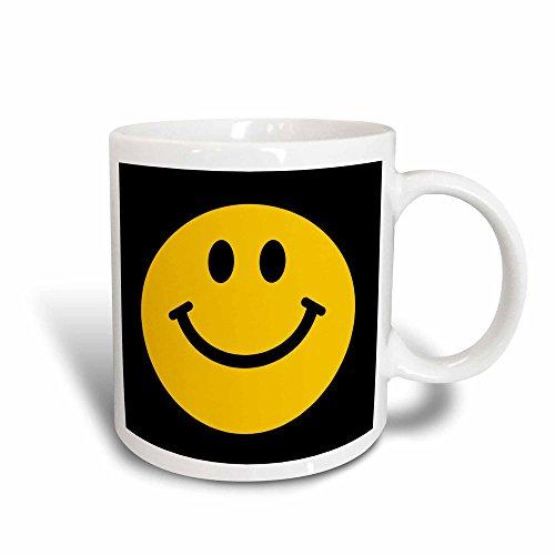 3dRose gelb Smiley, süße Traditionelle Happy Smily 1960er Hippie Stil Smiling auf Black Magic verwandelt 11Oz Tasse, Keramik, Mehrfarbig, 10,2x 7,62x 9,52cm