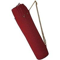 Yoga Bags Yoge Santosa (Maroon) Yoga Bag   Adjustable Strap, Zippered Pocket & Drawstring Opening with Hand-Picked Charms (Maroon)