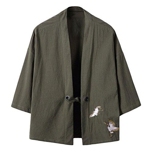 Zhuhaitf Kimono Herren Sommer Japan Happi Kimono V-Kragen Kimono-Jacke Men Women Unisex Embroidery Cloak Lightweight Breathable Open Front Coat M-4XL (Cardigan Lightweight Open-front)