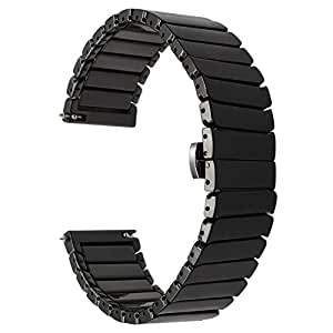 TRUMiRR For Gear S3 Watchband, 22mm Ceramic Band Quick Release Strap for Samsung Gear S3 Classic Frontier Huawei Watch 2 (Classic) Moto 360 2 46mm Asus ZenWatch 1 2 Men Pebble Time/Steel/2 SE