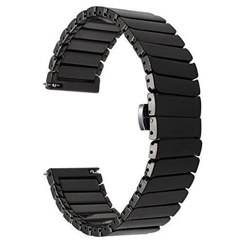 TRUMiRR Vivoactive 3 Armband, 20mm Vollständige Keramik Uhrenarmband Schmetterling Buckle Armband für Garmin Vivoactive 3, Ticwatch E, Huawei Watch 2 (Sport), Samsung Gear Sport, Gear S2 Classic