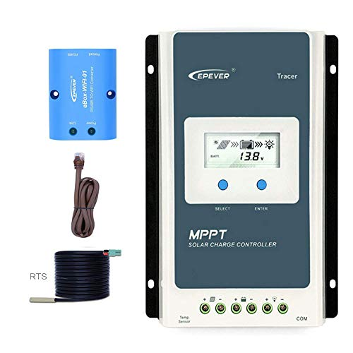 EPEVER Tracer 1210 AN MPPT Solar Laderegler 12V 24V DC Automatische Identifizierung mit LCD-Display Hintergrundbeleuchtung Negativerdung 10A (1210AN+BLE+TS-R)