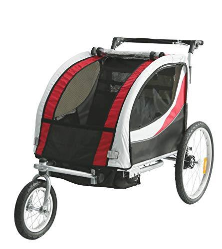 Tiggo Jogger Remorque à Vélo 2 en 1, pour Enfants + Amortisseur 902-D01 JBT03N - Rouge-Noir