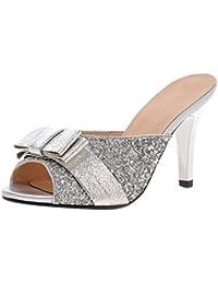 UH Damen Stiletto High Heels Pantoletten Glitzer Mules mit Schleife Peep Toe Pantoffel Sommer Schuhe