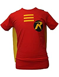 Robin Fancy Dress T-Shirt With Detachable Super Hero Cape & Free Eye Mask