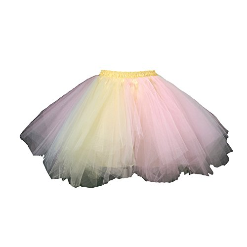 Honeystore Women's Short Vintage Ballet Bubble Puffy Tutu Petticoat Skirt Yellow and Pink