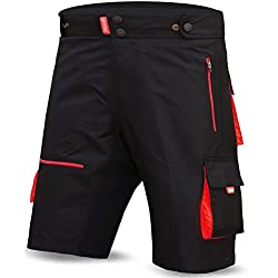 Pantalones Cortos MTB Brisk, Coolamax Acolchada, Forro Interior Desmontable, Free Style Tamaño del Adulto (Negro/Rojo, Grande)