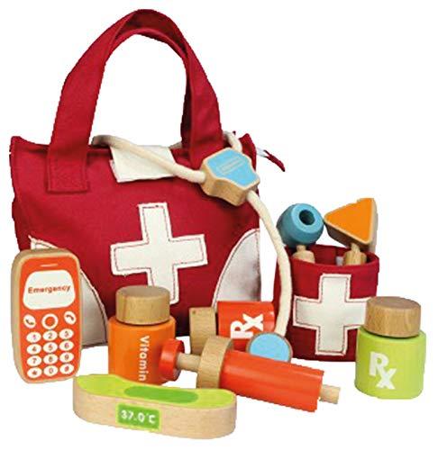 KL-Toys Arzttasche / Doktor Set / Stofftasche mit Holzinstrumenten / Material: Holz + Stoff / Maße: 21,5 x 8,5 x 18 cm / für Kinder ab 3 Jahren