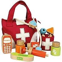 medizinische Instrumente Unbekannt Doktors Set // Doktortasche // Arztkoffer // Arzttasche aus Stoff Zubeh/ör aus Holz f/ür Kinder ab 3 Jahren