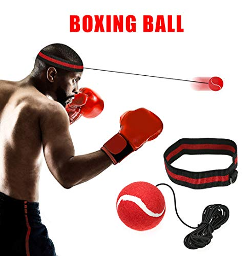 Boxen Reflex Ball - Fight Ball Reflex Training, Sport Boxing Punch Ball auf Schnur mit Stirnband Trainingsgeschwindigkeit Reaktionen Punch Fokus für Erwachsene / Kids Gym Boxen MMA - Boxen Kopf
