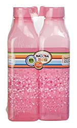 Nayasa Superplast Plastic PP Fridge Bottles - Square Deluxe 1 Litre, Set of 2, Pink