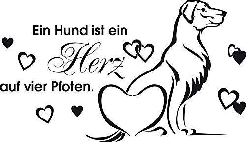 GRAZDesign Wandtattoo Hundesalon - Wanddekoration EIN Hund ist EIN Herz auf Vier Pfoten - Wandposter Wandsticker Geschenke Hunde Spruch / 99x57cm / 640091_57_070