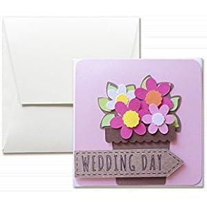 Hochzeitstag - Hochzeit - Vase Blumen- Grußkarte mit Umschlag (12 x 12 cm) - handgemachte Karte - freier Raum nach innen