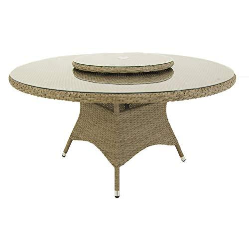 Edenjardi Mesa de terraza Redonda, Tamaño: 150x75 cm, Aluminio y ...