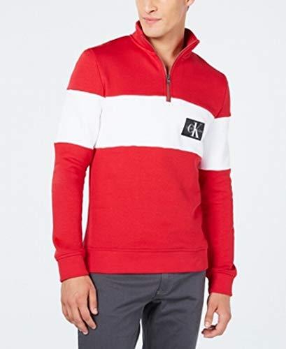 Calvin Klein Mens Large 1/2 Zip Colorblocked Sweater Red L Colorblocked Zip