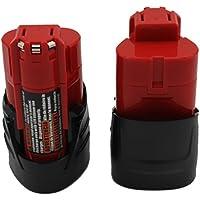KINSUN 2-Pack Utensili Elettrici Batteria 12V 1.5Ah Li-Ion Per Milwaukee Trapano Senza Cordone Driver di Impatto M12, 48-11-2401, 48-11-2402, C12 B, C12 BX Altro Ancora
