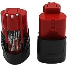 KINSUN 2 unidad Herramienta Eléctrica de la Batería de 12V Li-Ion 1.5Ah para Milwaukee M12 48-11-2401 48-11-2402 C12 BX