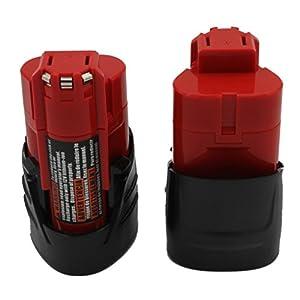 KINSUN 2-Pack Utensili Elettrici Batteria 12V 1.5Ah Li-Ion Per Milwaukee M12 48-11-2401 48-11-2402 C12 B C12 BX