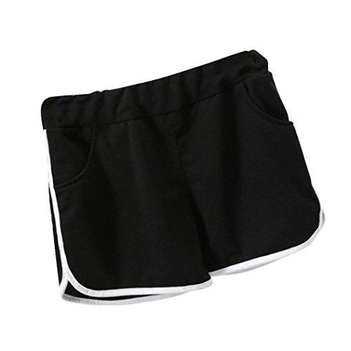 Ineternet Femmes Sport Poches Shorts Noir