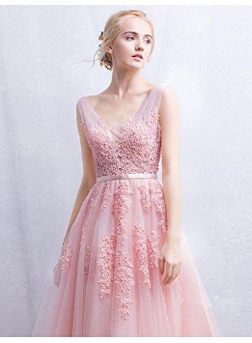 Beauty-Emily -  Vestito  - linea ad a - Senza maniche  - Donna Rosso