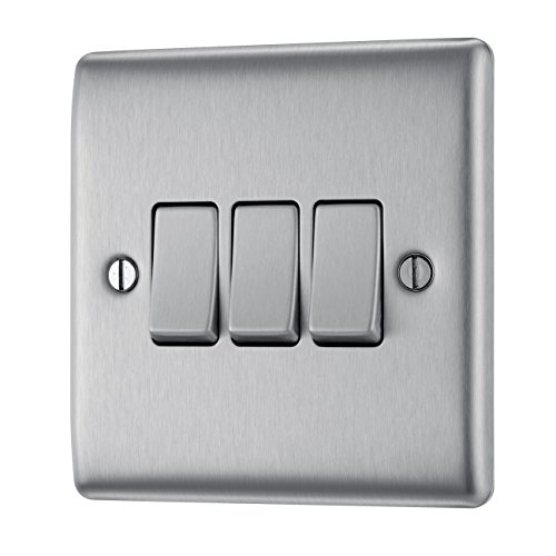 Switch 10A 3G 2W Brushed Steel Grey