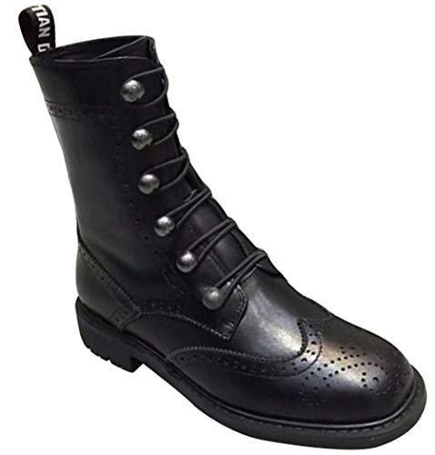AILINSHA Stiefel Women's Military Ankle Schnürschuh Schnalle Combat Boots Leder Fashion Boot,Black-37EU (Womens Timberland Stiefel Arbeit)