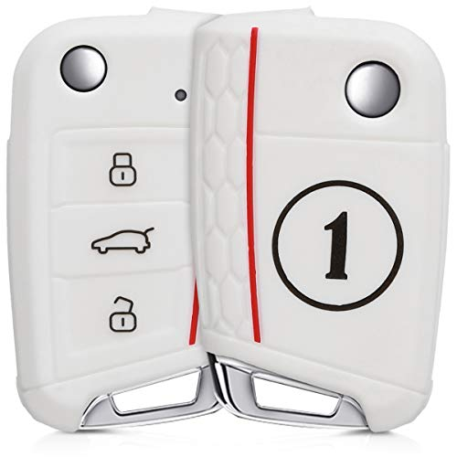 kwmobile Autoschlüssel Hülle für VW Golf 7 MK7 - Silikon Schutzhülle Schlüsselhülle Cover für VW Golf 7 MK7 3-Tasten Autoschlüssel Schwarz Weiß Weiß (Kfz-zubehör Seat Cover-sets)