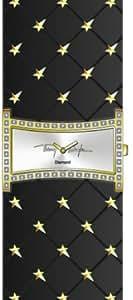Thierry Mugler - 4702501 - Montre Femme - Quartz Analogique - Cadran Argent - Bracelet Cuir Noir