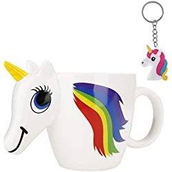 Taza de Unicornio 3D que Cambia de Color - Mágica Cerámica Sensible al Calor Cambia Cuando Está Caliente - Fabuloso de Hadas Regalos para Niños, Niñas, Mujeres, Hombres - 300 ml + llavero de unicornio