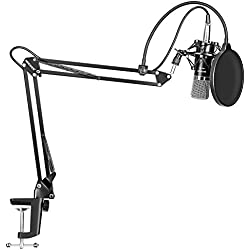 Neewer NW-700, Micrófono de condensador para grabación de radiodifusión profesional y soporte de brazo en tijera para micrófono en suspensión ajustable NW-35 con montaje flotante y abrazadera de montaje, color negro (Black)