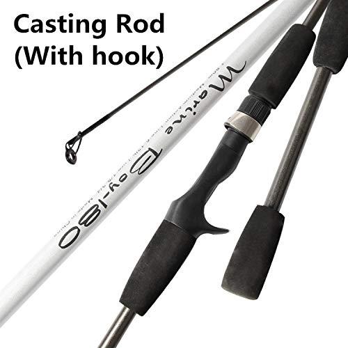 Little Adam Fishing Rod Caña de Pescar de 6 a 12 Libras, 2 Puntas, 3 a 21 g, Color Negro, 1,8 m