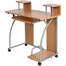 TecTake Scrivania Porta PC Computer Tavolo Ufficio con ripiano tastiera scorrevole ottica di faggio - Porta Specchio Ottica