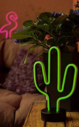 Hellum LED Kaktus, Neon, Grün, Tischlampe, Nachtlicht, Mädchen Geschenk, Kinder, Partydekoration, Hochzeit, Festival, Events, Wohnung Schlafzimmer, Wohnzimmer, batteriebetrieben