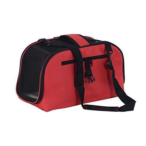 PawHut Transportbox Tasche faltbar für Hunde Katzen und Haustiere 43x 22x 27cm rot