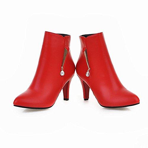 Mee Shoes Damen Reißverschluss high heels kurzschaft Stiefel Rot