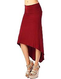 Atractiva Lado Hendidura Piernas Mujeres del Paquete Cadera Alta Cintura Faldas Largas Vino rojo M