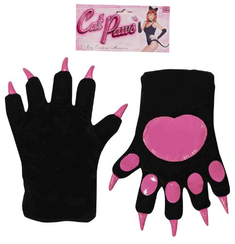 Black And Hot Pink Cat Paws With Claws Adult Costume Gloves One Size (Paw Gloves Halloween Cat)