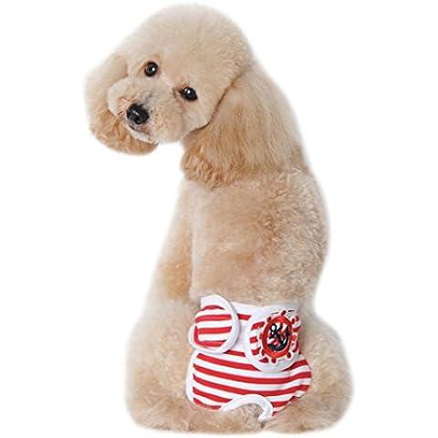 Camicia Piccolo Cane, Dog Shirt, Ouneed® Carino Pet Dog Panty di Stagione Pantaloni Sanitari per la Femmina (Rosso, S)