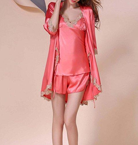 Ms. Atmungsaktiv Und Komfortabel Dreiteilige Langärmeligen Luxuriösen Indoor-Freizeitspaßpyjamas Pink