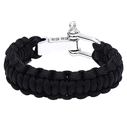 DonDon Men's Outdoor Survival Paracord Bracelet braided Nylon Black