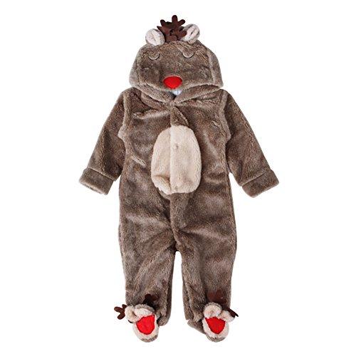 Chicolife Baby Kostüm Hirsch Elch Tier Karton Design Girl Boy Kleidung Winter warme Oberbekleidung Strampler Onesies Overall Outfits 0-18 (Boy Halloween Kostüme Month 6)